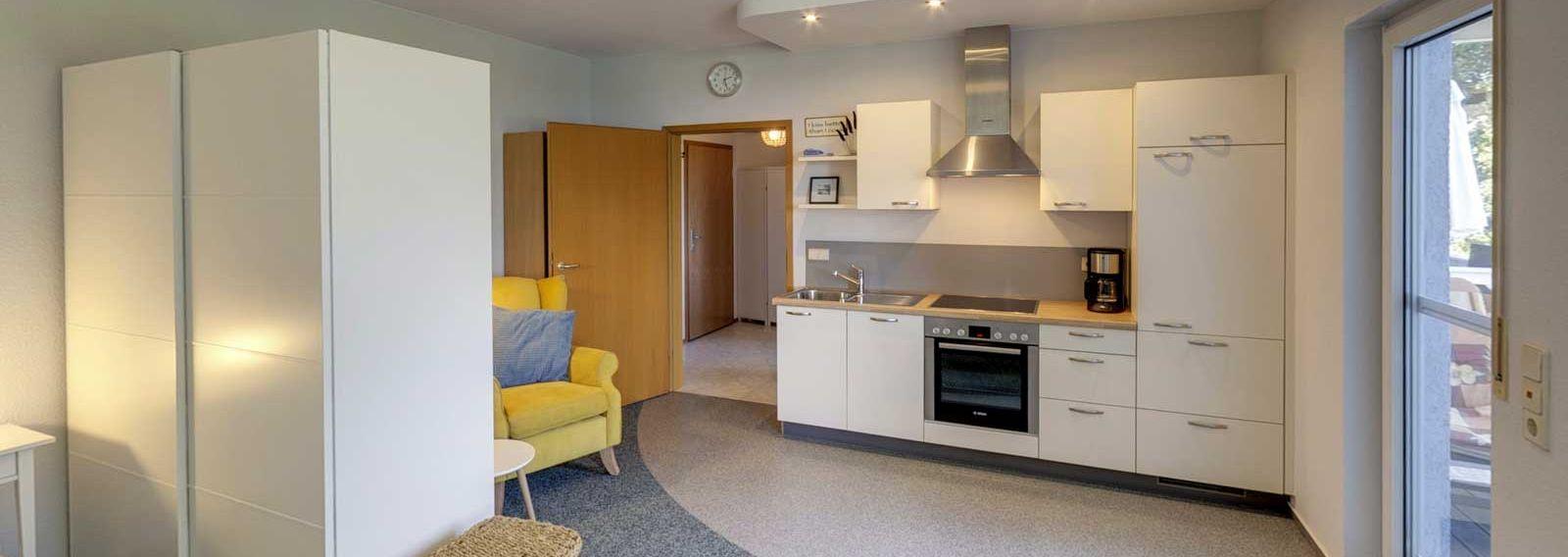 Unser Appartement im ersten Obergeschoss - Blick Richtung Küche